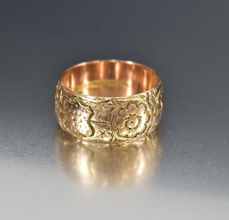 Edwardian English Rose Gold Wedding Band Ring - Boylerpf