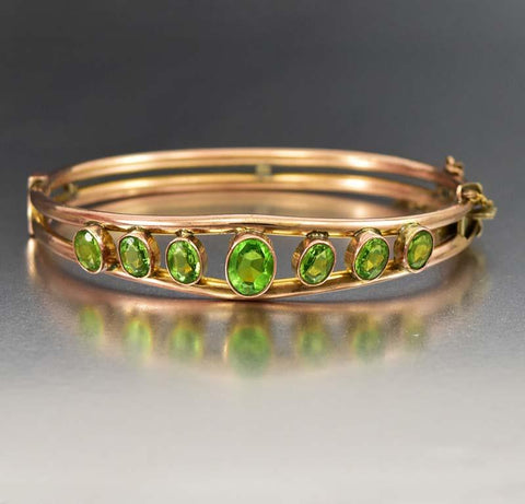 Edwardian Amber Emerald Paste Bangle Bracelet