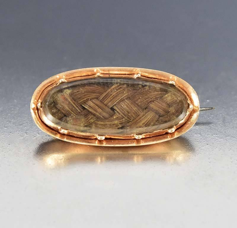 Georgian Victorian Rose Gold Hair Brooch Mourning Jewelry - Boylerpf