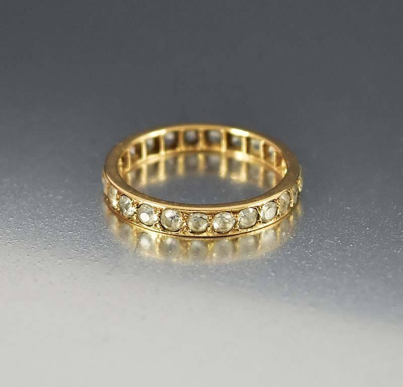 Antique Rose Gold White Topaz Eternity Band Ring - Boylerpf