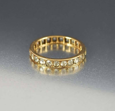 Antique Rose Gold White Topaz Eternity Band Ring