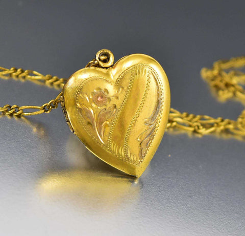 Vintage 12K Gold and Rose Gold Filled Engraved Locket Pendant