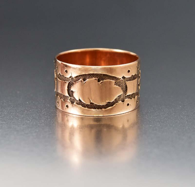 Charming Rose Gold Oak Leaf Antique Band Ring - Boylerpf