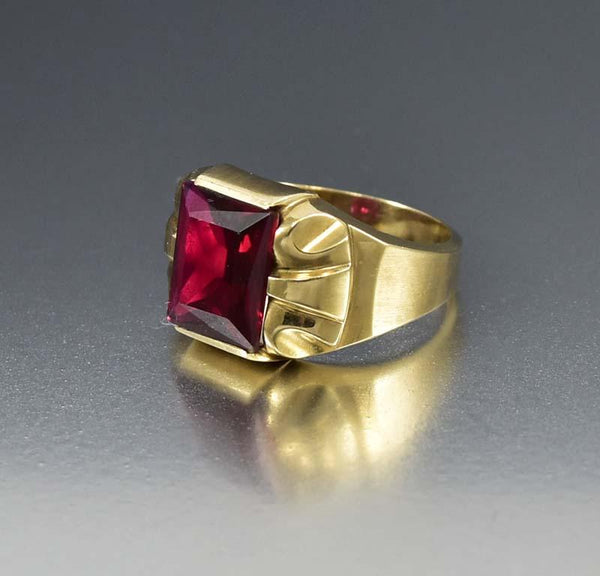Attractive Mens Art Deco Gold and Ruby Ring – Boylerpf OZ53