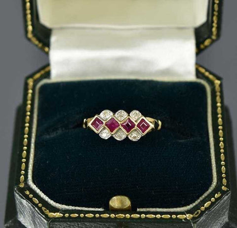Ruby and Diamond Gold Wedding Band Ring