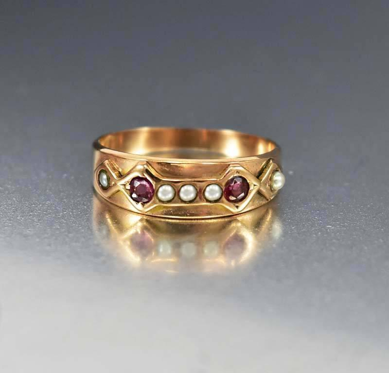 Antique rose gold pearl ruby wedding band ring boylerpf antique rose gold pearl ruby wedding band ring junglespirit Image collections