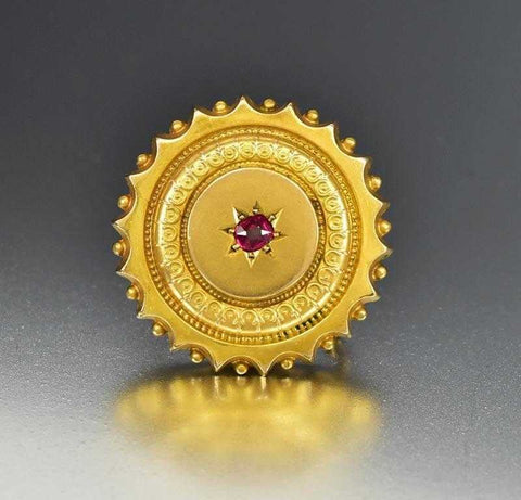 Antique 10K Gold Ruby Victorian Locket Brooch Pin