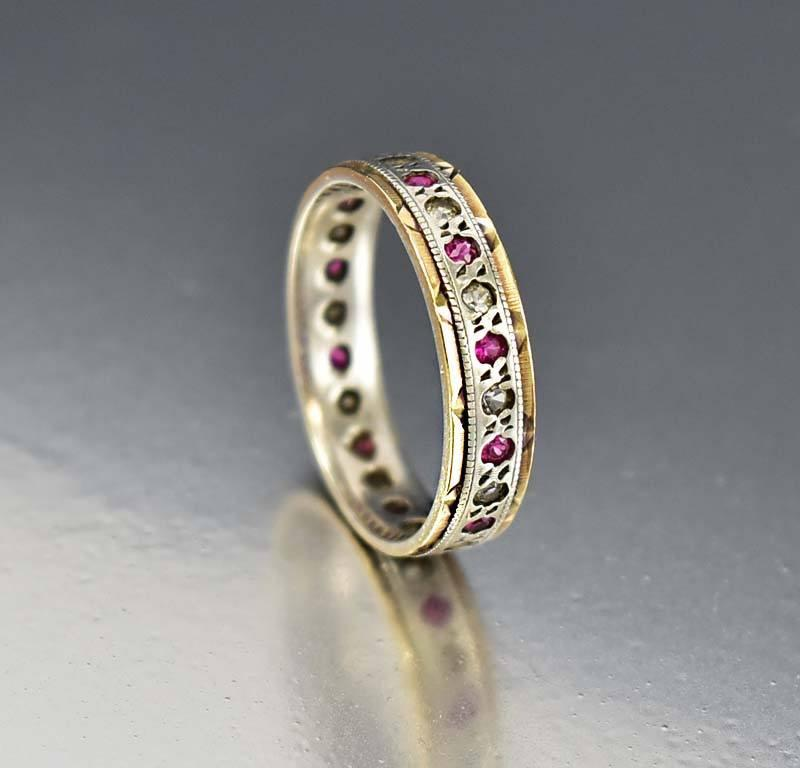 antique vintage band eternity scroll bands engraved rings s wedding collections large size platinum heirloom
