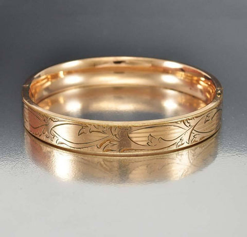 Antique Art Nouveau Gold Filled Bangle Bracelet SBL