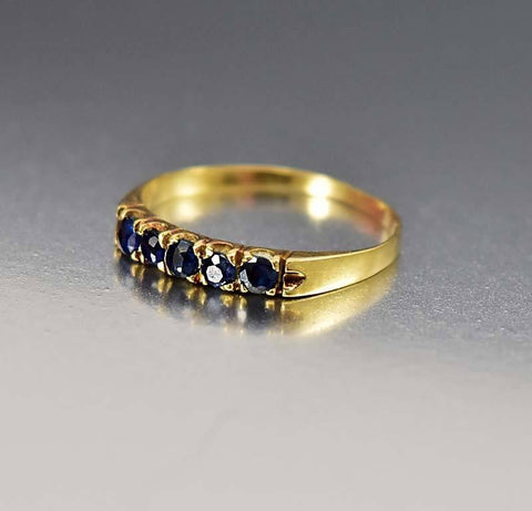 Vintage 18K Gold Sapphire Half Eternity Band Ring