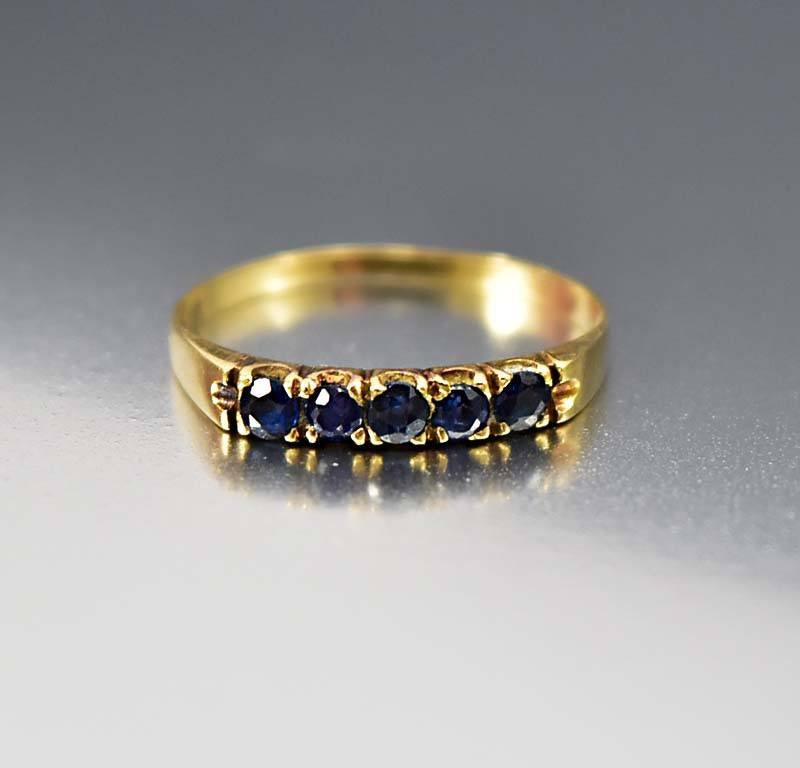 18K Gold Sapphire Half Eternity Band Ring - Boylerpf