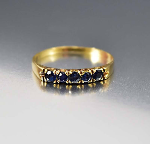 18K Gold Sapphire Half Eternity Band Ring