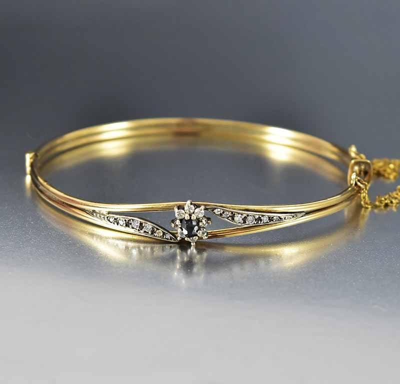 Victorian Sapphire Diamond Paste Bangle Bracelet - Boylerpf