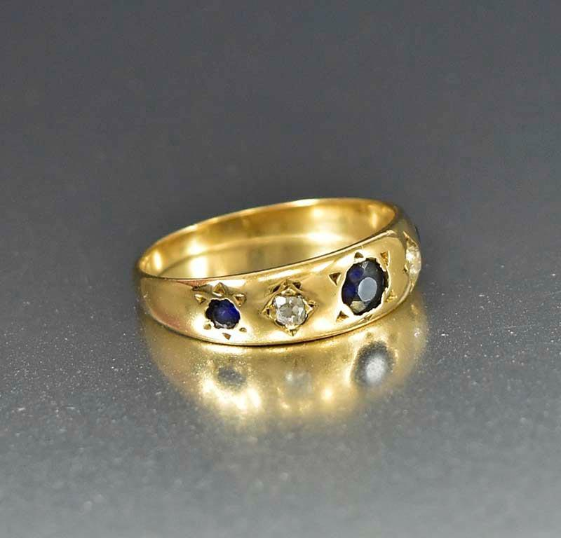 Antique 18K Gold Sapphire and Diamond Band Ring - Boylerpf