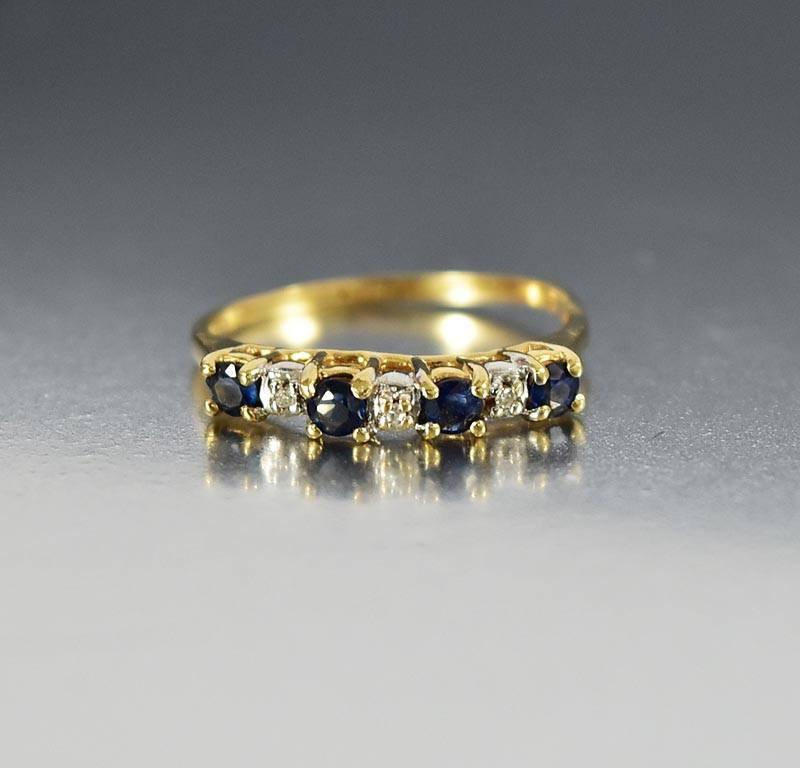 Vintage Gold Diamond Sapphire Eternity Band Ring - Boylerpf