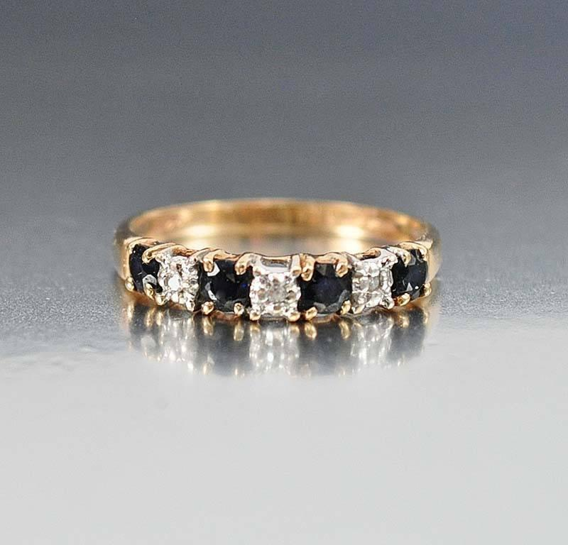 14K Gold Sapphire Diamond Eternity Band Ring - Boylerpf