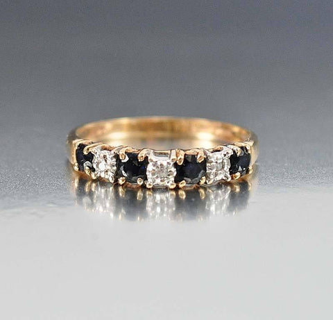 14K Gold Sapphire Diamond Eternity Band Ring
