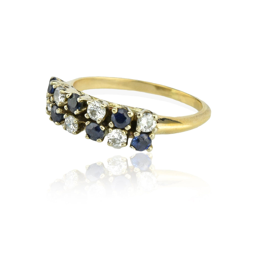 14K Gold Diamond and Sapphire Double Row Wedding Band - Boylerpf