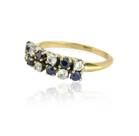 14K Gold Diamond and Sapphire Double Row Wedding Band