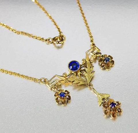 Antique Sapphire Paste Gold Lavaliere Necklace
