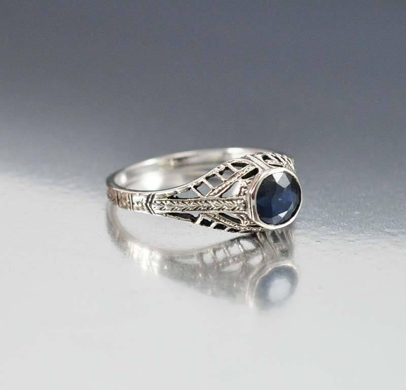 sterling silver sapphire engagement ring deco style