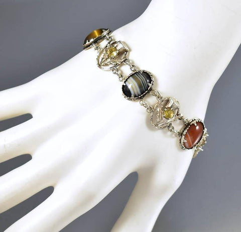 Silver Thistle Citrine Scottish Agate Bracelet 1930s