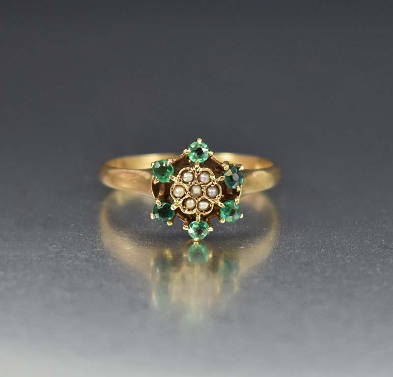 Victorian Seed Pearl and Emerald Engagement Ring - Boylerpf