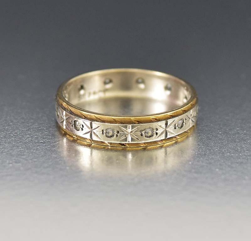 Exquisite Gold and Silver White Topaz Band Ring - Boylerpf