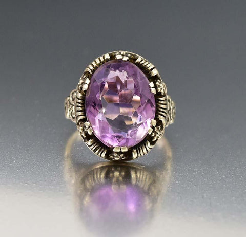 Victorian Amethyst Ring Antique Gold Engagement Ring