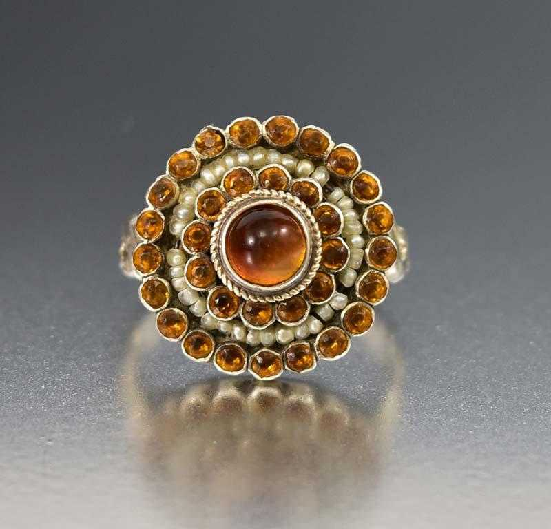 Austro Hungarian Silver Pearl and Citrine Target Ring - Boylerpf