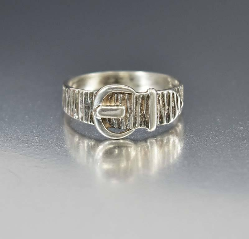 Antique Bark Texture Sterling Silver Buckle Ring - Boylerpf