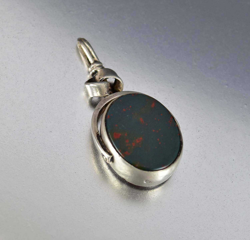 Bloodstone and Carnelian Silver English Watch Fob Pendant - Boylerpf