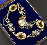 Antique Silver and Citrine Awesome Art Nouveau Bracelet - Boylerpf