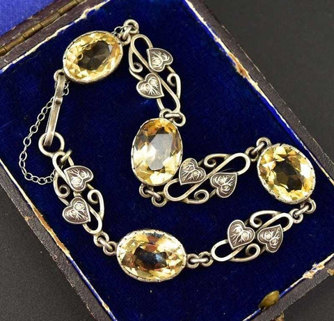 Antique Silver and Citrine Awesome Art Nouveau Bracelet