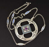 Outstanding Art Nouveau Enamel and Amethyst Necklace - Boylerpf