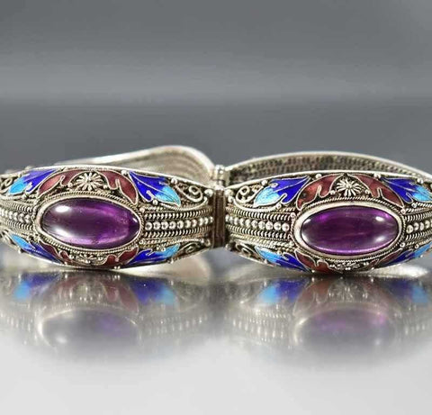 Antique Chinese Export Enamel Amethyst Bracelet