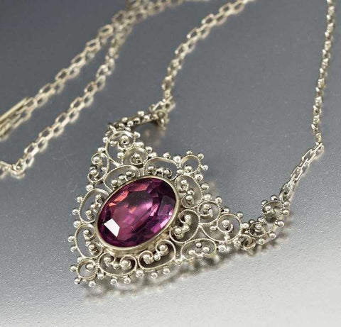 Chinese Coral Amethyst Gemstone Art Deco Necklace