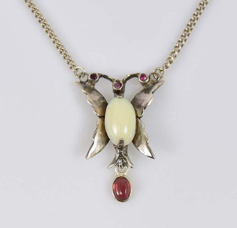 Antique Silver Opal Butterfly Garnet Pendant Necklace