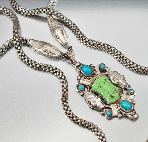 Rare Czech Neiger Bros Snake Art Deco Necklace