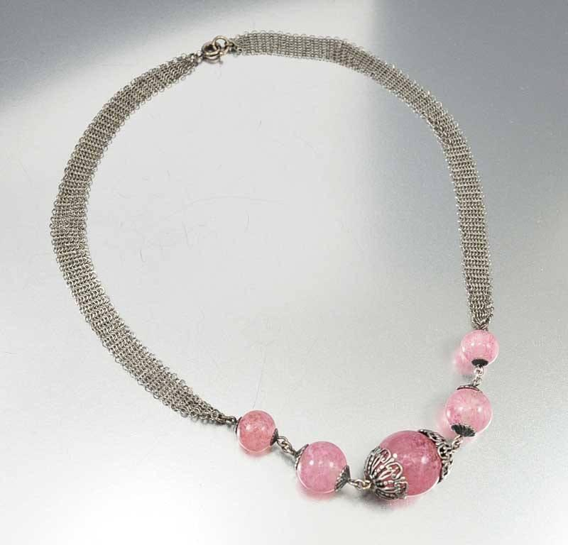 Art Deco Rose Quartz Silver Mesh Necklace - Boylerpf