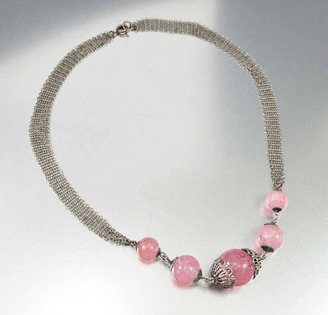 Art Deco Rose Quartz Silver Mesh Necklace