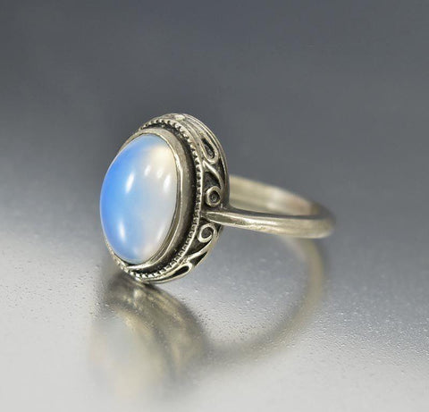 Vintage Sterling Silver Moonstone Ring Art Nouveau