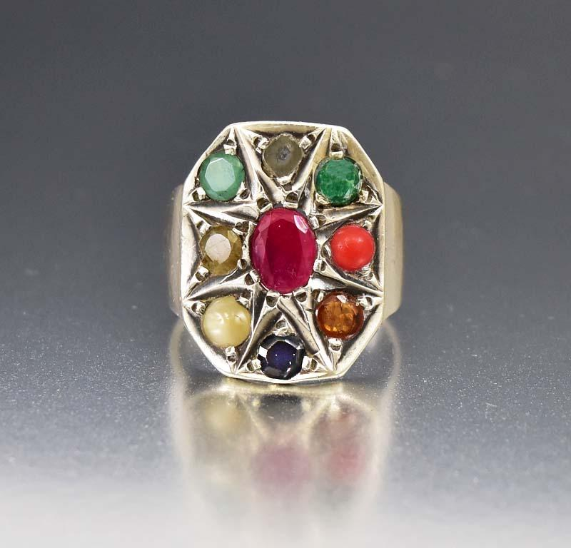 Huge Silver Ruby, Diamond, Emerald and Sapphire Ring - Boylerpf