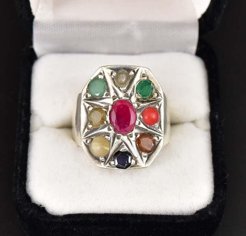 Huge Silver Ruby, Diamond, Emerald and Sapphire Ring