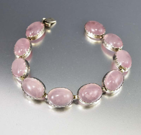 Chic Art Deco Silver Rose Quartz Bracelet