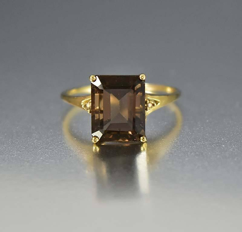 Vintage Gold Diamond Smoky Quartz Topaz Ring - Boylerpf