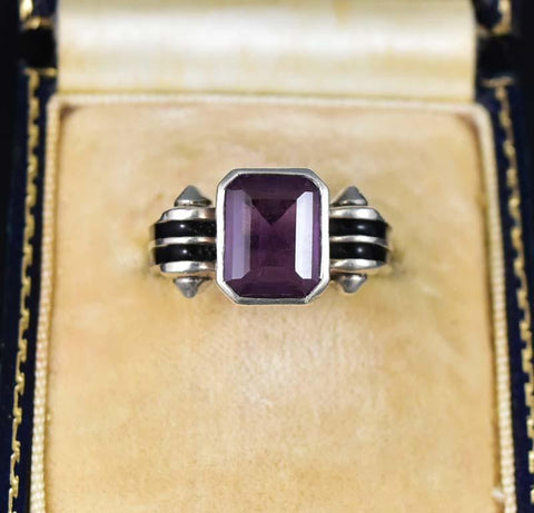 Art Deco 14K White Gold & Silver Amethyst Ring
