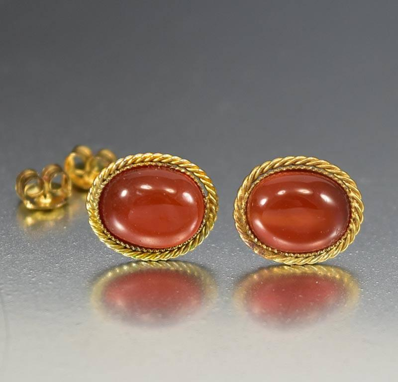 Vintage Gold Vermeil Chinese Carnelian Stud Earrings - Boylerpf