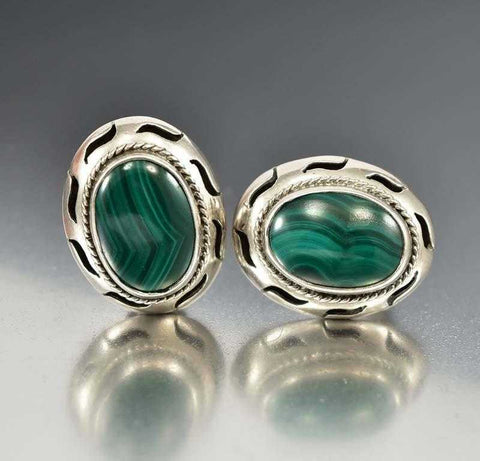Taxco Mexican Sterling Silver Malachite Earrings