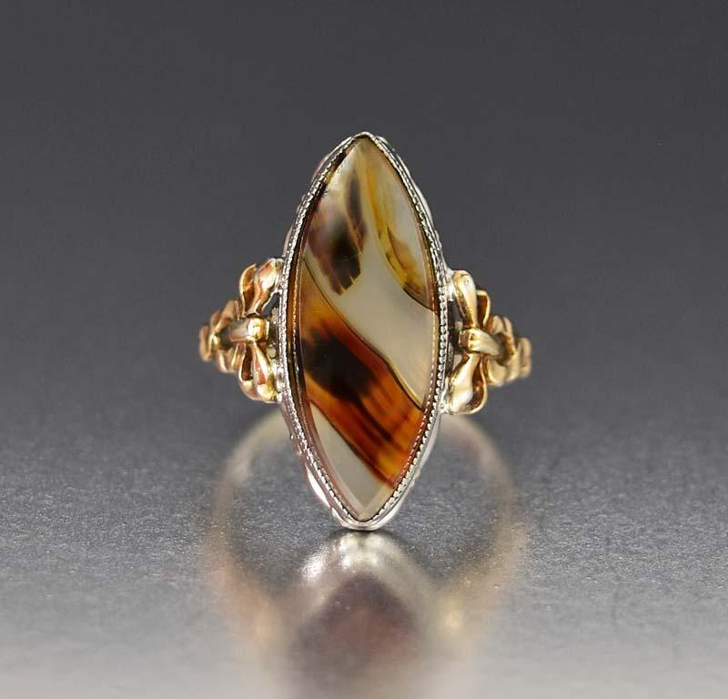 Stunning 10K Gold Bow and Silver Dendritic Agate Ring - Boylerpf